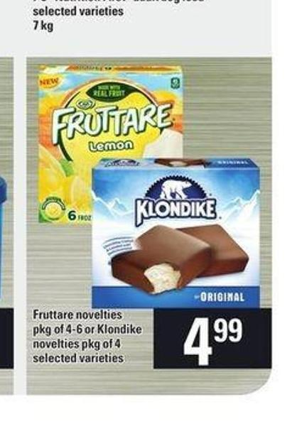 Fruttare Novelties - Pkg Of 4-6 Or Klondike Novelties - Pkg Of 4