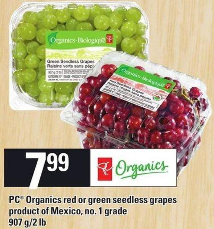 PC Organics Red Or Green Seedless Grapes - 907 G/2 Lb