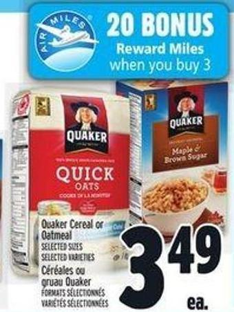 Quaker Cereal Or Oatmeal