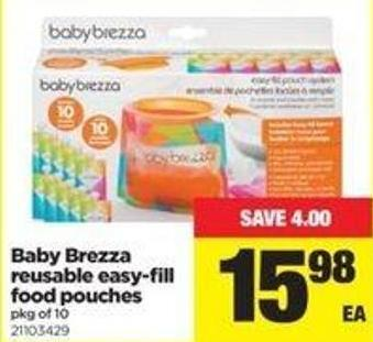 Baby Brezza Reusable Easy-fill Food Pouches - Pkg Of 10