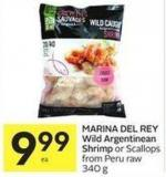 Marina Del Rey Wild Argentinean Shrimp or Scallops From Peru Raw 340 g