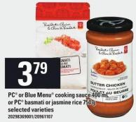 PC Or Blue Menu Cooking Sauce - 400 Ml Or PC Basmati Or Jasmine Rice - 750 G