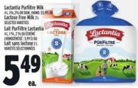 Lactantia Purfiltre Milk 4 L - 1% - 2% Or Skim - (Homo: $5.99) Or Lactose Free Milk 2 L