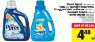 Purex Liquid - 1.47-2.03 L Or Tabs 23's Laundry Detergent - Snuggle Fabric Softener - 1.43-1.47 L - Snuggle Beads - 439g Or Dryer Sheets - 105/120's