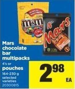 Mars Chocolate Bar Multipacks - 4's Or Pouches - 164-230 G