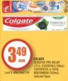 Colgate Sensitive Pro-relief (75's) - Essentials (98ml) Toothpaste or Total Mouthwash (500ml)