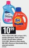 Tide Or Gain - 2.04-2.95 L or Ivory - 1.47 L Laundry Detergent  - PODS Or Flings - 23-40's - Downy Fabric Softener - 2.45-3.06 L - Bounce Or Gain Sheets - 200-240's - Downy Or Gain Beads - 422 g