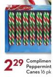Compliments Peppermint Candy Canes 16 Pk 200 g