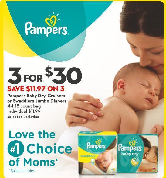 Pampers Baby Dry - Cruisers or Swaddlers Jumbo Diapers