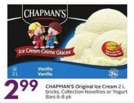 Chapman's Original Ice Cream 2 L Bricks - Collection Novelties or Yogurt Bars 6-8 Pk