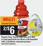 Country Time - Crystal Light - Kool-aid - Mio Or Tang Liquid Drink Mix 48 Ml Or V8 Vegetable 1.89 L Or 6x156 Ml