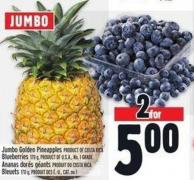 Jumbo Golden Pineapples Product Of Costa Rica Blueberries 170 g - Product Of U.S.A. - No. 1 Grade