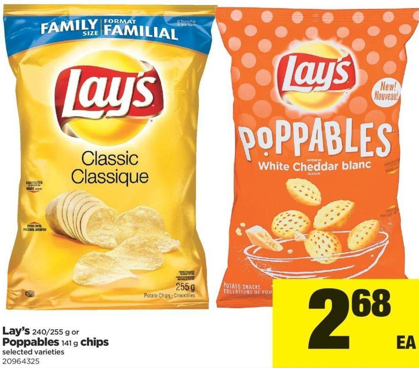 Lay's - 240/255 G Or Poppables - 141 G Chips