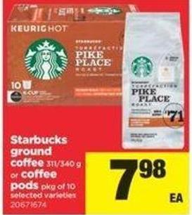 Starbucks Ground Coffee 311/340 G Or Coffee PODS - Pkg Of 10