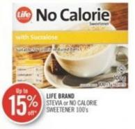 Life Brand Stevia or No Calorie Sweetener 100's