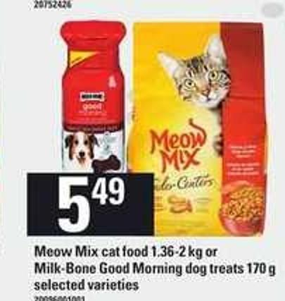 Meow Mix Cat Food - 1.36-2 Kg Or Milk- Bone Good Morning Dog Treats - 170 g