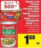 Maple Leaf Vienna Sausage - Chicken - Ham Or Turkey Flakes - 113/156 G - Habitant Soup - 796 Ml Or Campbells Soup - 540 Ml