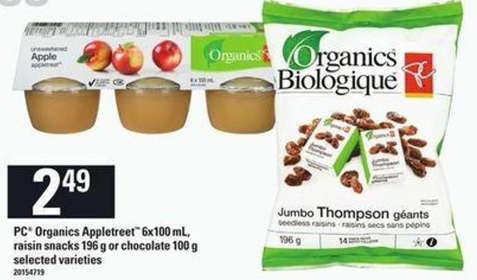 PC Organics Appletreet - 6x100 Ml - Raisin Snacks - 196 G Or Chocolate - 100 G