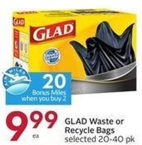 Glad Waste or Recycle Bags Selected 20-40 Pk - 20 Air Miles Bonus Miles