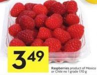 Raspberries Product of Mexico or Chile No 1 Grade 170 g