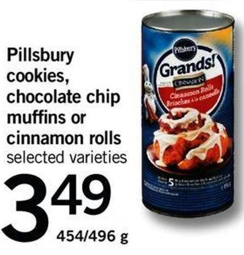 Pillsbury Cookies - Chocolate Chip Muffins Or Cinnamon Rolls - 454/496 G