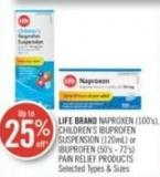 Life Brand Naproxen (100's) - Children's Ibuprofen Suspension (120ml) or Ibuprofen (50's - 72's) Pain Relief Products
