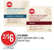 LIFE BRAND GOAT'S MILK BAR SOAP 3 x 90g