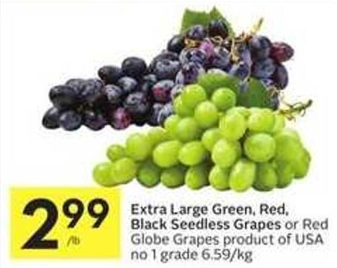 Extra Large Green - Red - Black Seedless Grapes or Red Globe Grapes