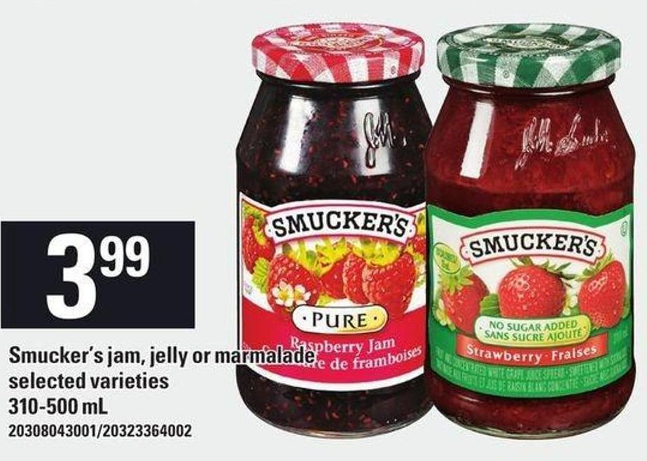 Smucker's Jam - Jelly Or Marmalade - 310-500 mL