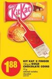 Kit Kat 2 Finger - 124 g or Gold Chocolate Coins - 72 g