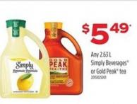 Any Simply Beverages Or Gold Peak Tea - 2.63 L
