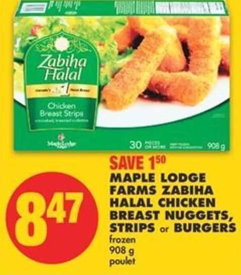 Maple Lodge Farms Zabiha Halal Chicken Breast Nuggets - Strips or Burgers - 908 g