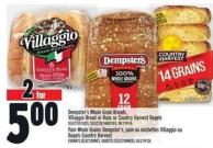 Dempster's Whole Grain Breads - Villaggio Bread Or Buns Or Country Harvest Bagels