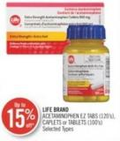 Life Brand  Acetaminophen Ez Tabs (120's) - Caplets or Tablets (100's)