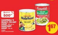 Campbell's Ready-to-eat Soup - 540 mL or Habitant Soup - 796 mL