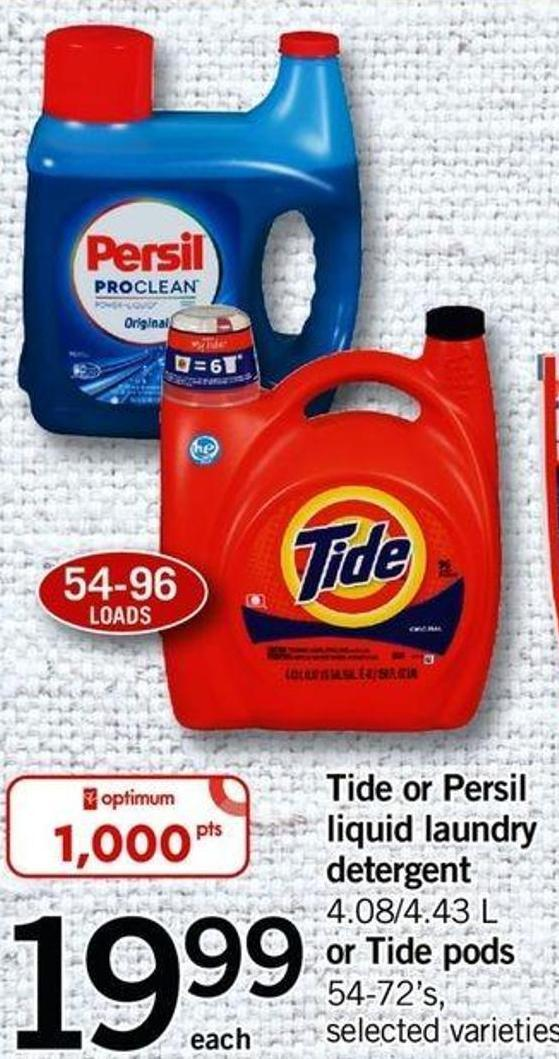 Tide Or Persil Liquid Laundry Detergent - 4.08/4.43 L Or Tide PODS - 54-72's.
