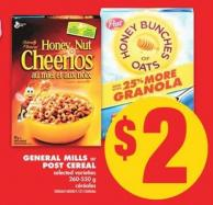 General Mills or Post Cereal - 260-550 g