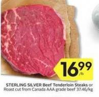 Sterling Silver Beef Tenderloin Steaks