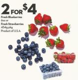 Fresh Blueberries  6oz or Fresh Strawberries 454g Pkg