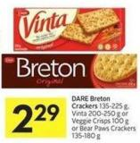 Dare Breton Crackers 135-225 g - Vinta 200-250 g or Veggie Crisps 100 g or Bear Paws Crackers 135-180 g
