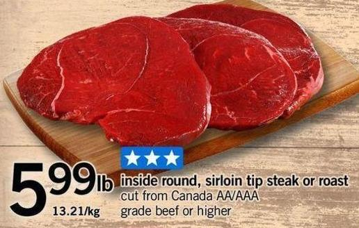 Inside Round - Sirloin Tip Steak Or Roast
