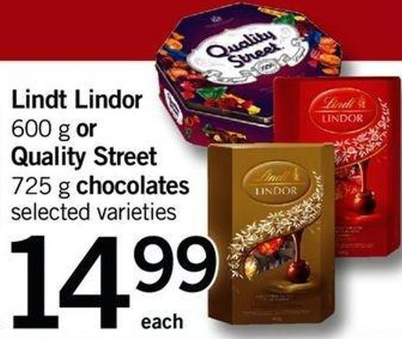 Lindt Lindor - 600 G Or Quality Street - 725 G Chocolates