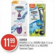 Schick Hydro5 (1's) - Hydro Silk (1's) or Intuition Plus (1's) Razors