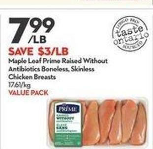 Maple Leaf Prime Raised Without Antibiotics Boneless - Skinless Chicken Breasts