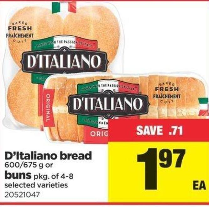 D'italiano Bread Buns - 600/675 G Or Pkg Of 4-8