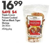 Triple Crown Frozen Cooked  Tail-on Black Tiger  Shrimp 26-30ct 454g
