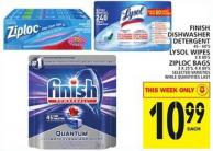 Finish Dishwasher Detergent Or Lysol Wipes Or Ziploc Bags