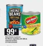 Heinz Beans Or Pasta Or Del Monte Vegetables - 341-398 mL