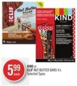 Kind or Clif Nut Butter Bars 4's