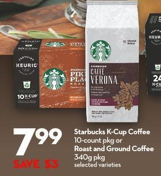 Starbucks K-cup Coffee 10-count Pkg or Roast and Ground Coffee 340g Pkg
